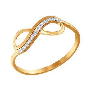 Кольцо бесконечность из золота с фианитами SOKOLOV 016622 золото 585