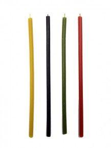 Свечи восковые №80 ассорти, 4 цвета, 18 см, (уп. 8 шт.)