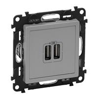 753612 Valena LIFE. Зарядное устройство с двумя USB-разьемами 240В/5В 1500мА. С лицевой панелью. Алюминий Legrand