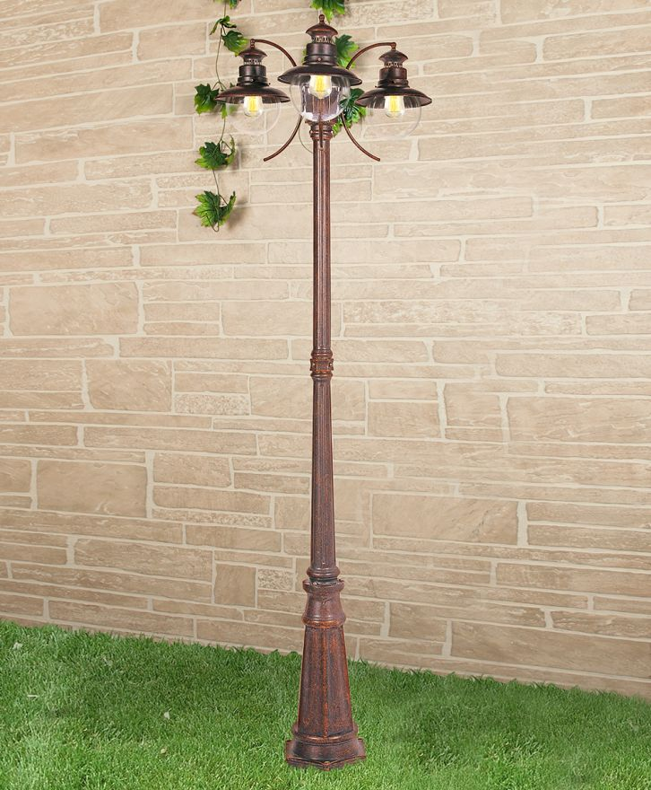 Уличный трехрожковый светильник на столбе Elektrostandard GL 3002F/3 Talli F/3 брауни