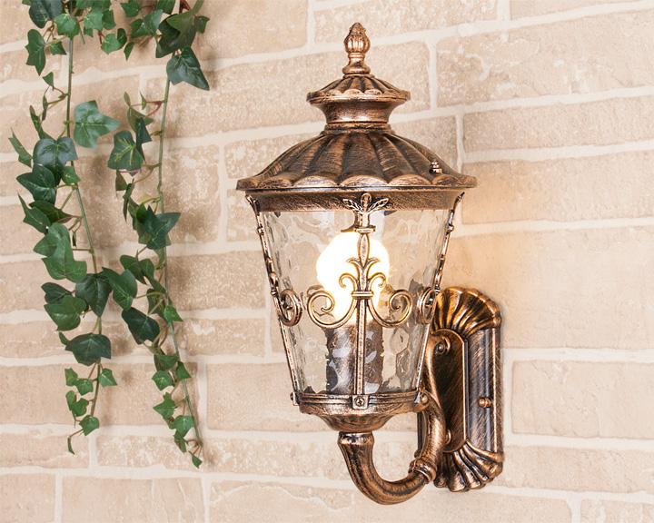 Уличный настенный светильник Elektrostandard GLYF-8046U Diadema U черное золото