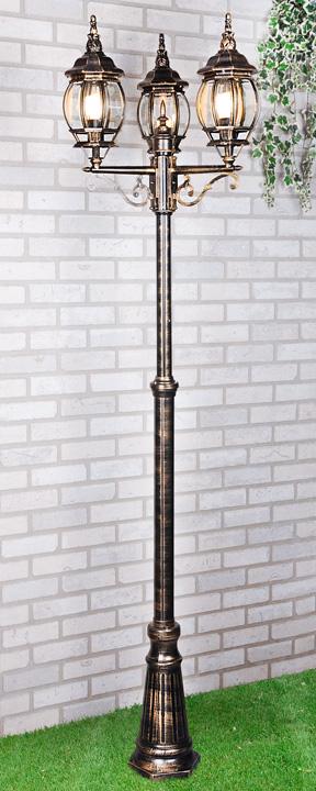 Уличный трехрожковый светильник на столбе Elektrostandard NLG99HL005 черное золото