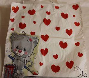 ! пакет с ручками полиэт 3кг мишка сердца, ячейка: 22