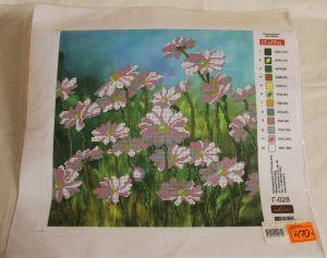 ! рисунок на габардине 40*40см бисер цветы, ячейка: 22