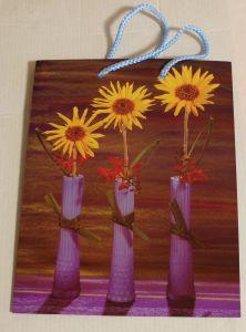 ! пакет с ручками 3желт цветка, ячейка: 62