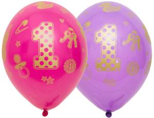 1 годик девочке новый шар латексный с гелием