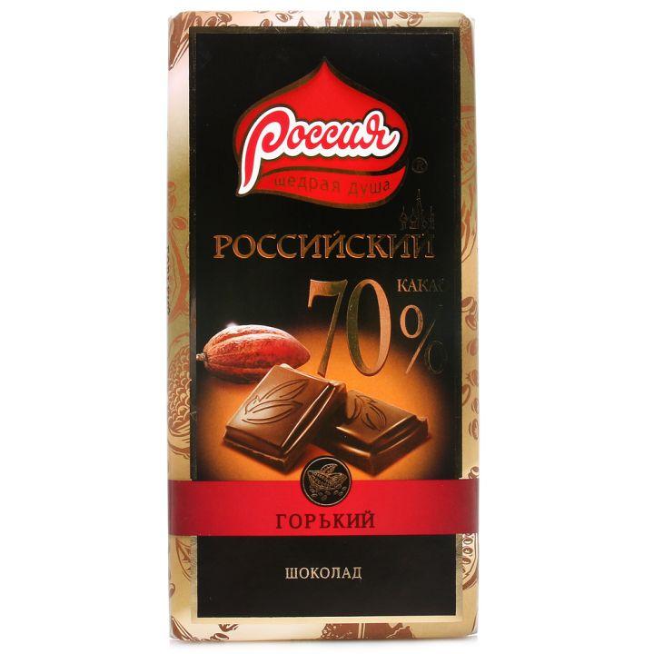 Шоколад Российский горький 70% какао 90г