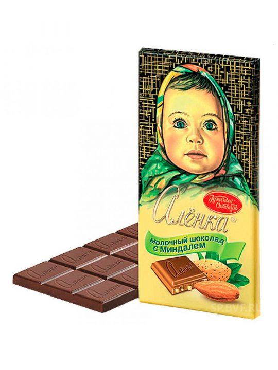 Шоколад Аленка молоч. с миндалём 100г Красный Октябрь