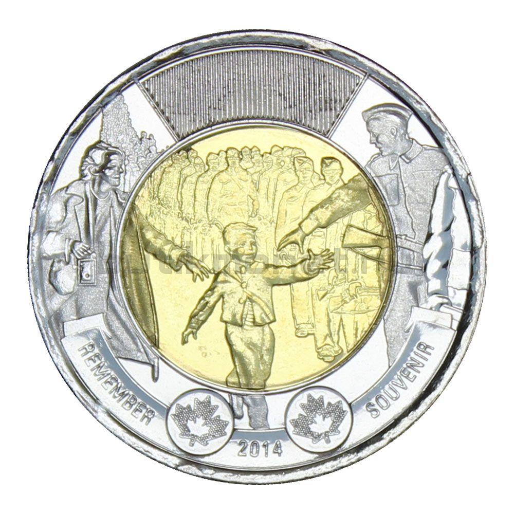 2 доллара 2014 Канада 75 лет с начала Второй Мировой войны