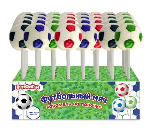 Карамель Футбольный мяч на палочке 12г Конфитой