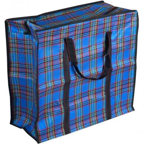 Тканевая хозяйственная сумка на молнии, 40х35х15 см, цвет синий