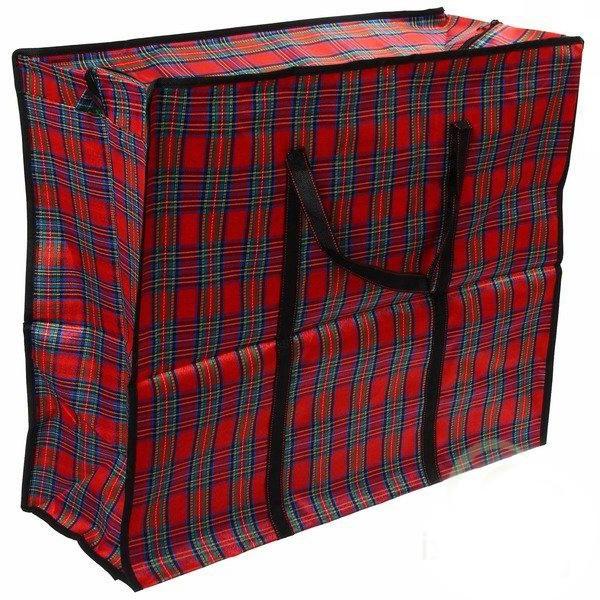 Тканевая хозяйственная сумка на молнии, 70х45х30 см, цвет красный