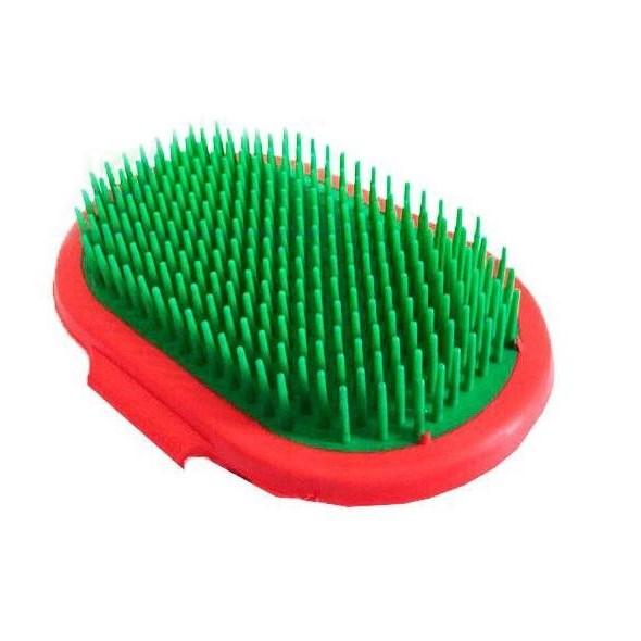 Овальная массажная щётка для собак с твёрдыми шипами HTBRUSH, цвет зеленый