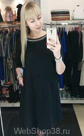 Черное платье трапеция с карманами