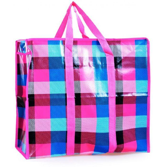 Двухслойная прочная хозяйственная сумка на молнии, 80х55х25 см, цвет розовый