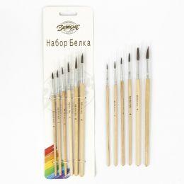 Набор кистей белка круглые 6 штук (№1,2,3,4,5,6) с деревянными ручками в блистере