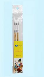 Набор кистей белка круглые 3 штуки (№1,2,3) с деревянными ручками в блистере