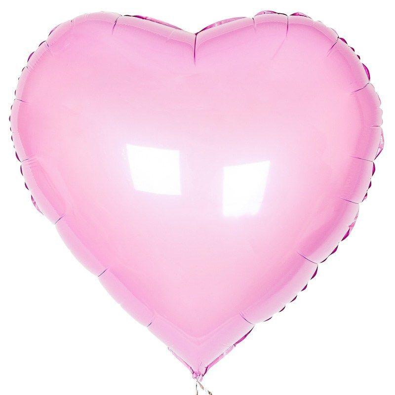 Шар сердце РОЗОВЫЙ фольга с гелием