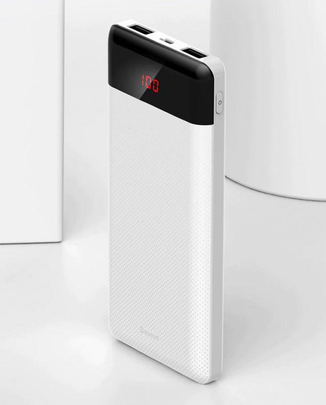 Внешний аккумулятор Baseus Mini Cu Digital Display Power Bank 10000mAh белый