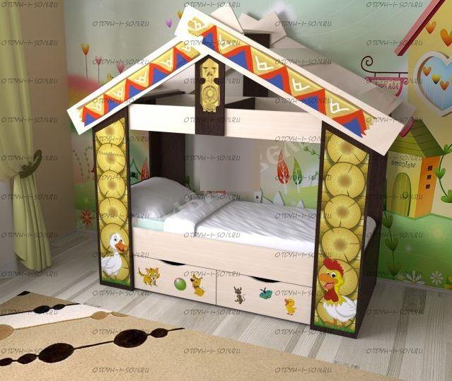 Кровать детская Теремок с ящиками (70х160)