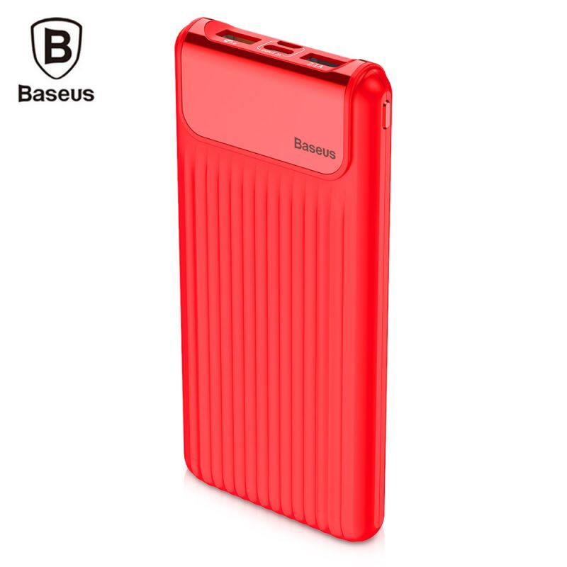 Внешний аккумулятор Baseus Thin QC3.0 M+T Daul input Digital display Power bank 10000mAh красный