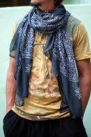 Чёрный универсальный шарф из индийского хлопка марлевки