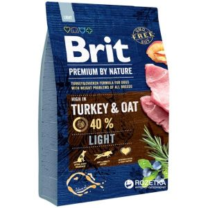 Корм сухой BRIT PREMIUM ADULT LIGHT для взрослых собак всех пород облегченный с индейкой 15кг