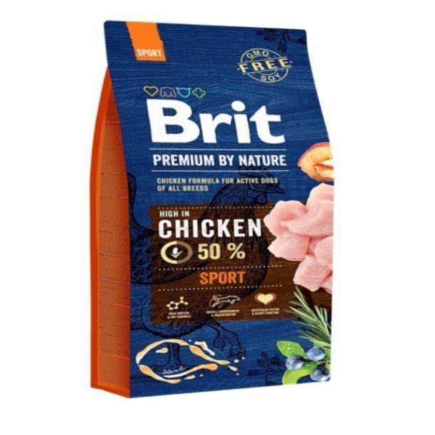 Корм сухой BRIT PREMIUM ADULT SPORT для взрослых активных собак всех пород с курицей 15кг