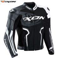 Мотокуртка Ixon Falcon кожаная, Чёрно-бело-серая