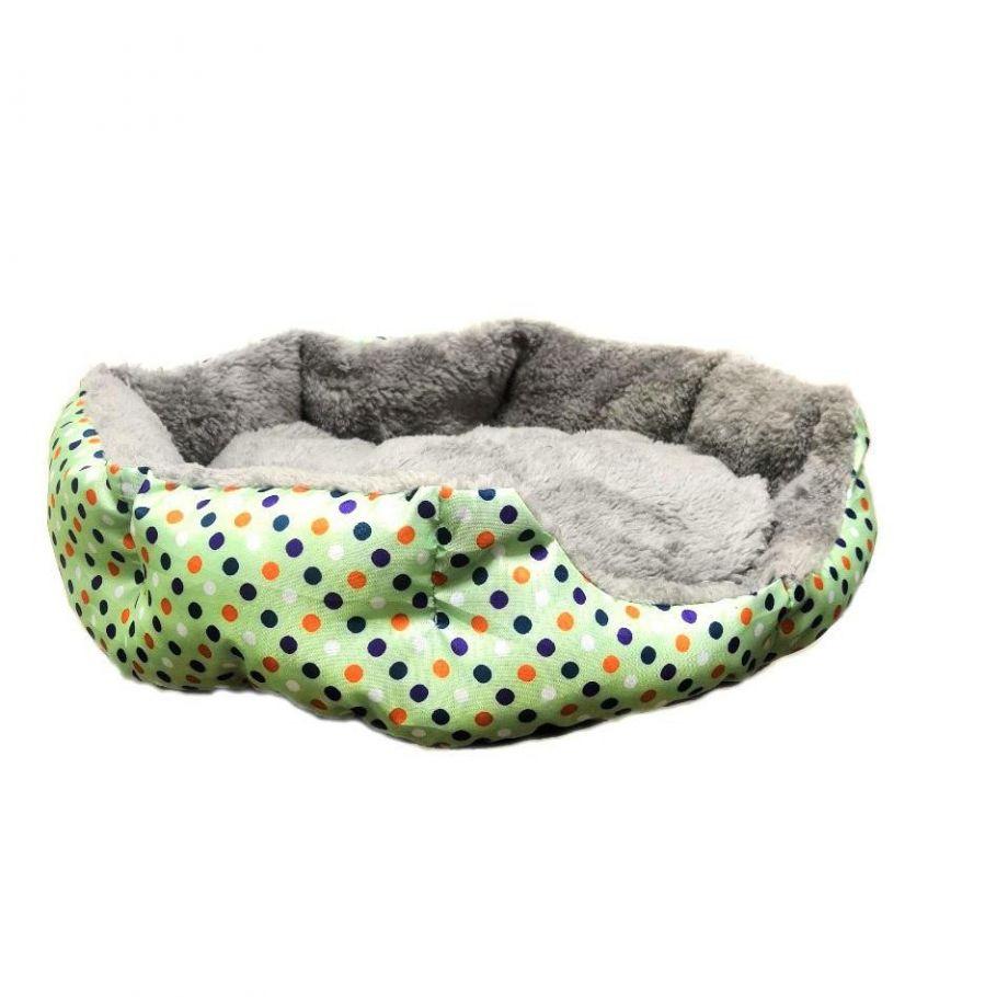 Круглый меховой лежак для кошек и собак Горошек, зеленый, 35 см