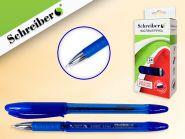 Ручка масляная, цвет чернил-СИНИЙ, синий тонированный корпус, металлический наконечник (РФ) (арт. S 0050 С-M)