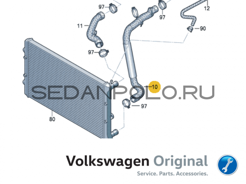Шланг системы охлаждения Volkswagen Polo Sedan/Skoda Rapid