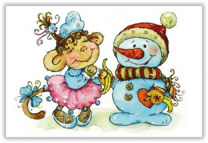 Обезьянка и снеговик