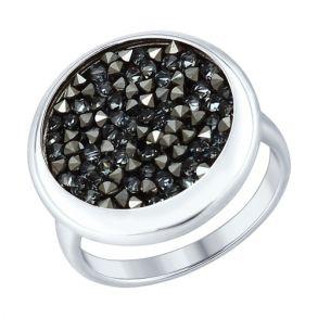Серебряное кольцо с чёрными кристаллами Swarovski 94012428 SOKOLOV