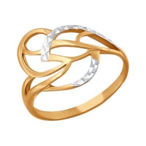 Кольцо из красного золота с алмазной гранью 015582 SOKOLOV