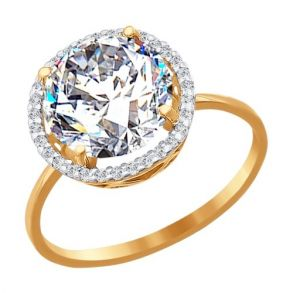Кольцо из золота с фианитами 016502 SOKOLOV