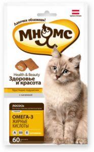 """Мнямс хрустящие подушечки для кошек с лососем """"Здоровье и красота"""" 60 г."""