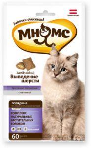 """Мнямс хрустящие подушечки для кошек с говядиной """"Выведение шерсти"""" 60 гр."""