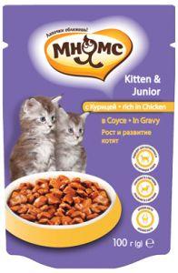 МНЯМС ПАУЧИ для котят с курицей в соусе, рост и развитие котят 100 гр.