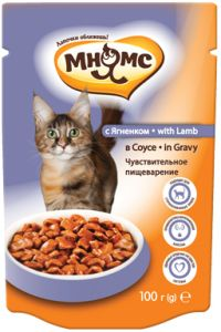 МНЯМС ПАУЧИ для взрослых кошек с ягненком в соусе, чувствительное пищеварение 100 гр.