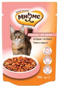 МНЯМС ПАУЧИ для взрослых кошек с лососем 100 гр в соусе, кожа и шерсть