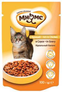 МНЯМС ПАУЧИ для взрослых кошек с курицей в соусе, идеальный баланс 100 гр.