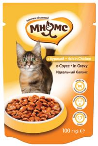 МНЯМС ПАУЧИ для взрослых кошек с курицей 100 гр в соусе, идеальный баланс