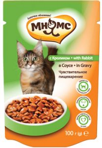 МНЯМС ПАУЧИ для взрослых кошек с кроликом 100 гр в соусе, чувствительное пищеварение