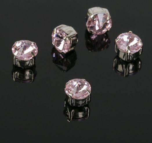 Стразы в серебристых цапах, цвет розовый, 6*6 мм, 5 шт/упак