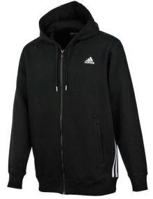 Толстовка adidas Essentials Middle Full-Zip Brushed Hoodie чёрная