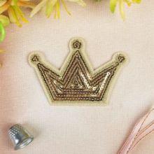 """Термоаппликация """"Корона"""", с пайетками, 8,3*5,4см, цвет золотой"""