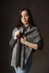 """кашемировый вязаный шарф (100% драгоценный кашемир), """"Серый- Оконная клетка"""" BORDERED WINDOWPANE GREY, плотность 7"""
