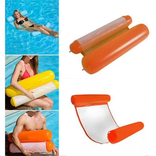 Надувной шезлонг для плавания Floating Bed, оранжевый 130х73 см