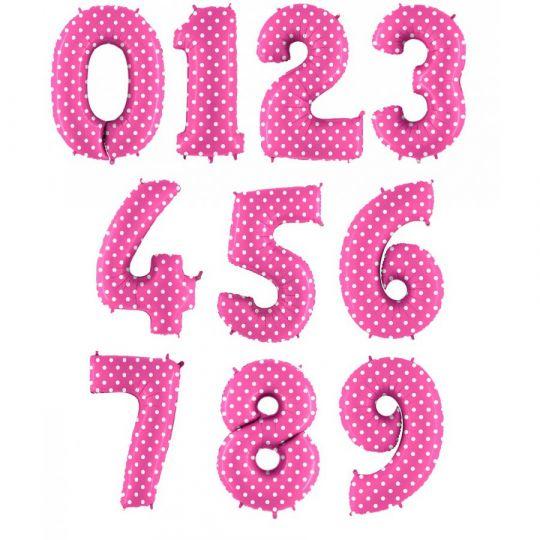 Цифры 0-9 розовые в горох фольгированные с гелием